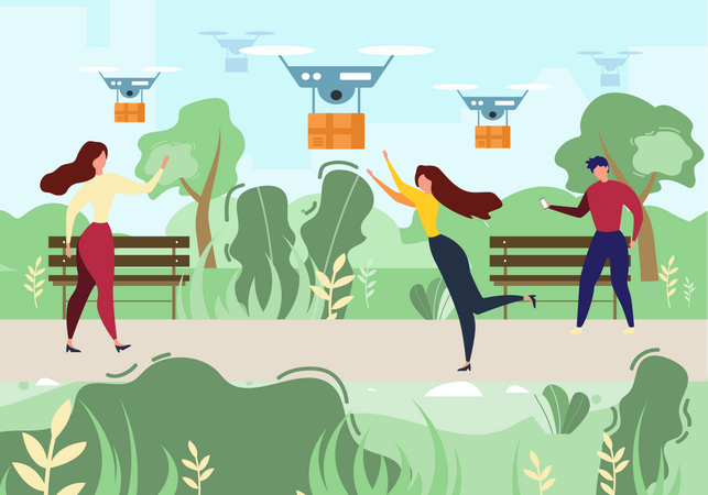 Man and Woman Receiving order by Drone Delivery Illustration