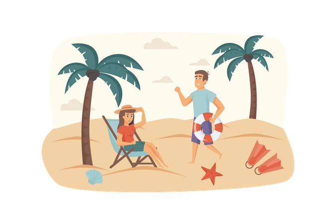 Man and woman resting on beach by sea, lying on sun lounger, sunbathing Illustration