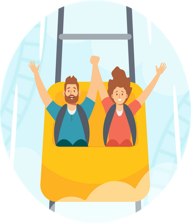 Man and Woman Riding Roller Coaster in Amusement Park Illustration