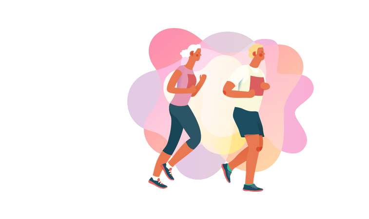 Man and woman running in morning Illustration