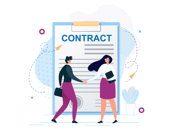 Man and Woman Shaking Hands Agree to Sign Contract Illustration