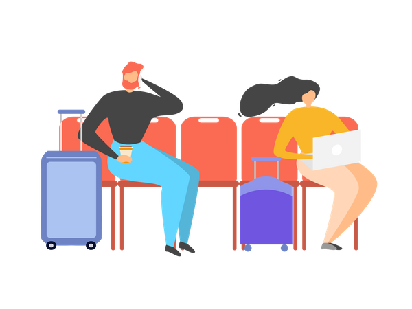 Man and woman sitting in waiting area Illustration