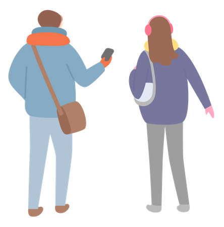 Man and woman standing together Illustration