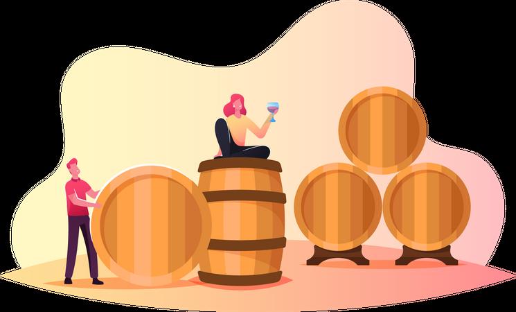 Man and Woman Tasting Wine Illustration