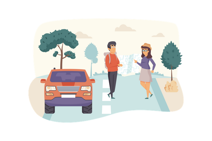 Man and woman travelers look at map, trip by car Illustration
