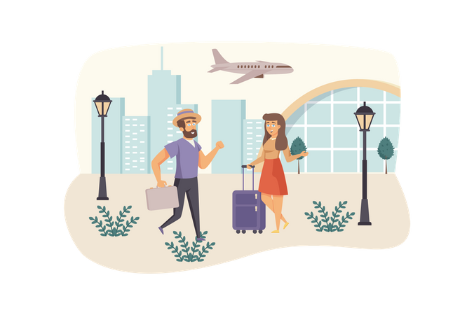 Man and woman travelers with luggage go in airport Illustration