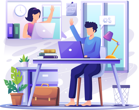 Man and woman video conferencing from home Illustration