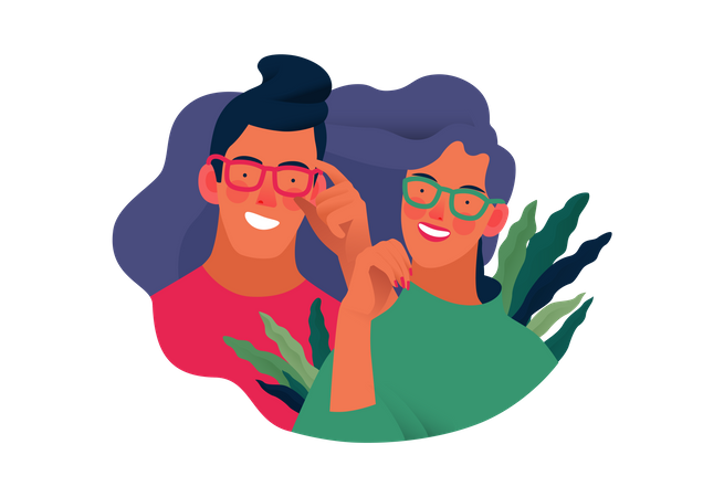 Man and woman wearing goggles Illustration