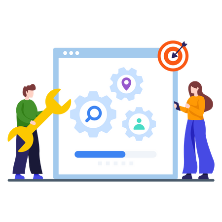 Man and woman working on startup plan Illustration