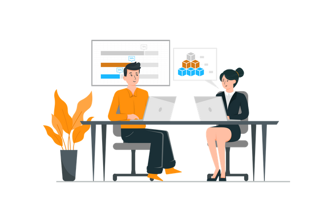 Man and woman working together in the office Illustration