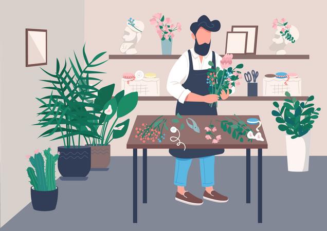Man arranging flower Illustration