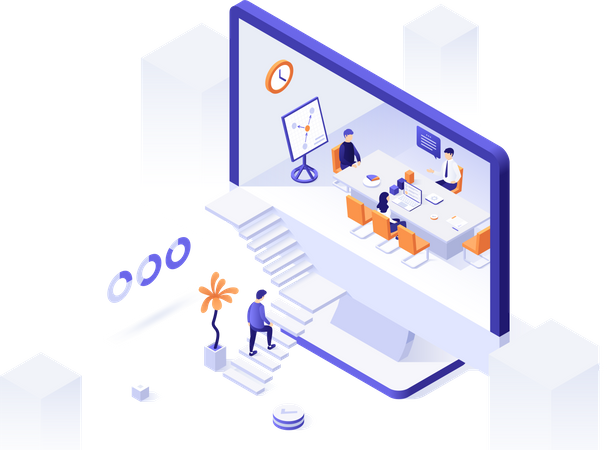 Man ascending stairs leading to computer screen with whiteboard meeting inside Illustration