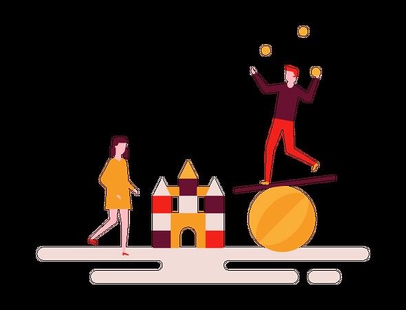 Man balancing on ball Illustration