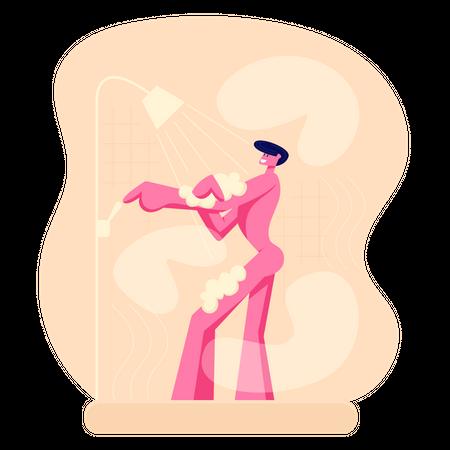 Man bathing in shower Illustration