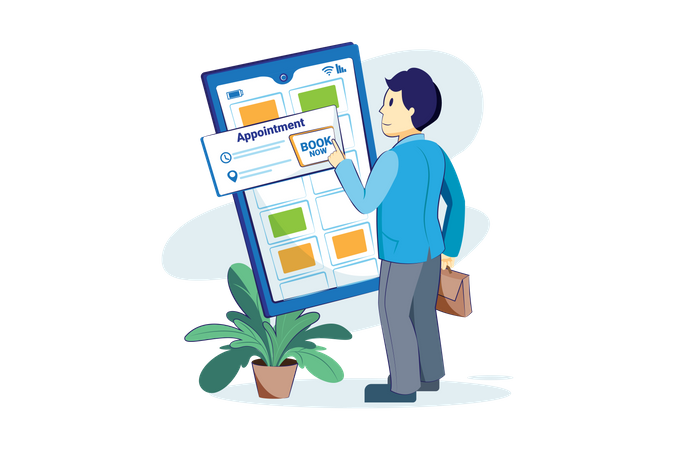 Man booking an online appointment Illustration