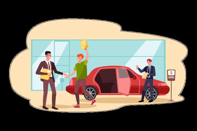 Man booking new car Illustration