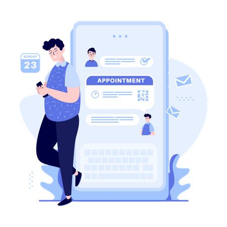 Man booking online appointment Illustration
