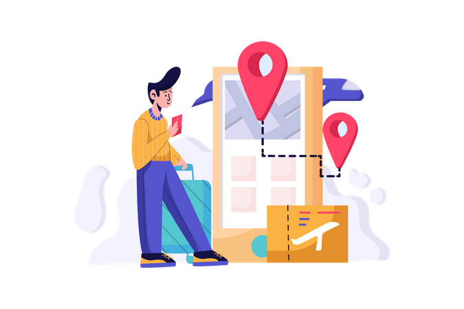 Man booking Online ticket online from a travel agency Illustration