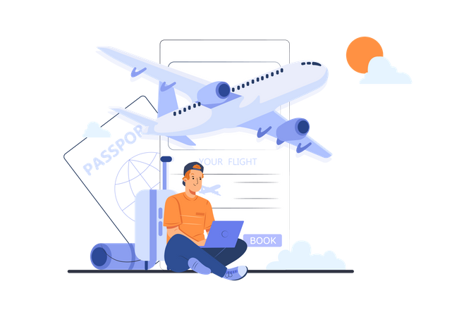 Man booking trip Illustration
