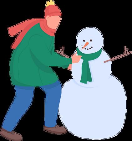 Man build snowman Illustration