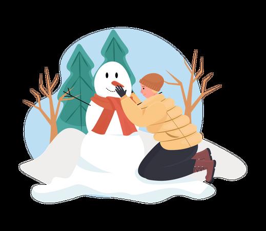 Man Building Snowman in Winter Illustration