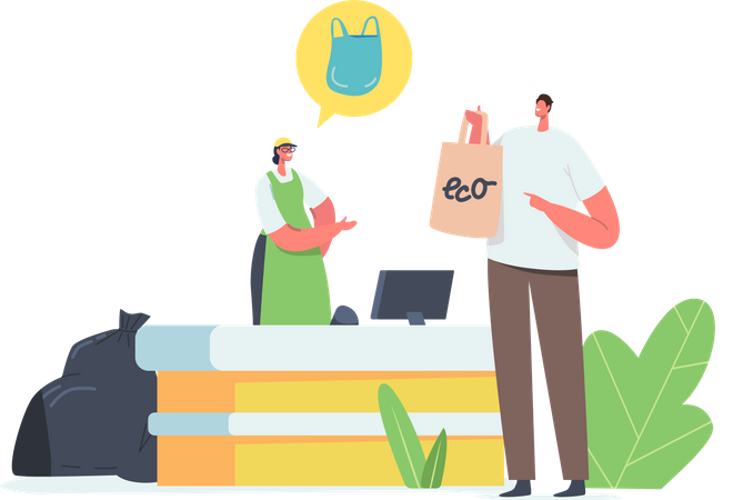 Man Buy Food in Reusable Eco Friendly Bag Illustration