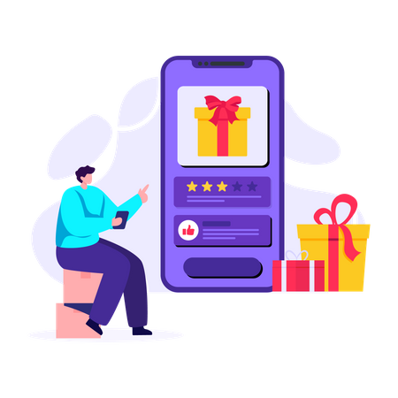 Man buying online gift Illustration