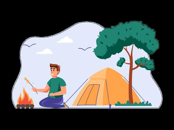 Man camping Illustration