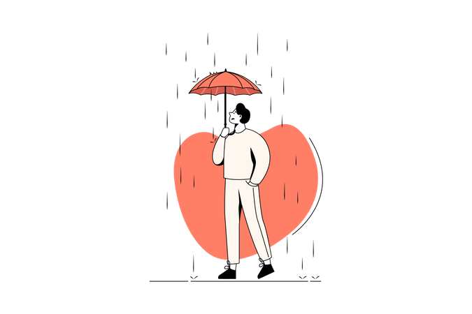 Man can not get protection due to small umbrella in rain Illustration