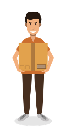 Man Carrying box Illustration