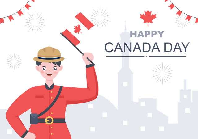 Man celebrating Canadian Independence day Illustration