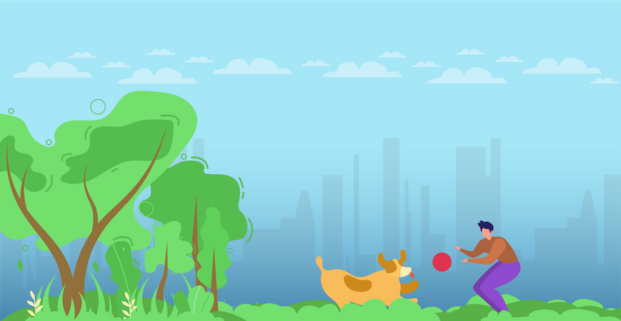 Man Character and Dog Playing with Ball in Park or Forest Illustration
