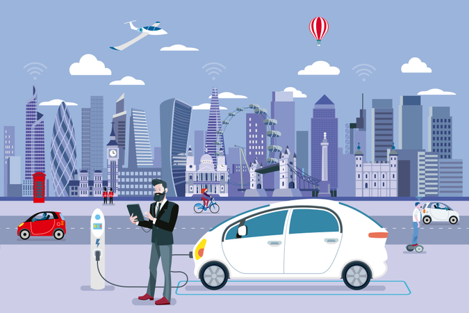 Man Charging an electric car in a London street with people walking and the City Skyline at the background Illustration