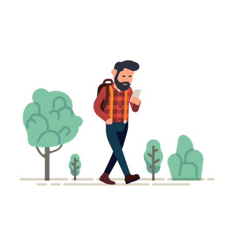 Man checking on his phone whilst walking Illustration