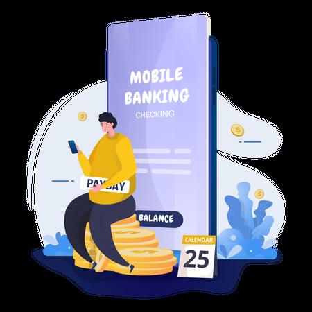 Man checks salary using mobile banking Illustration