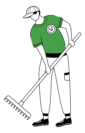 Man cleaning leaves Illustration