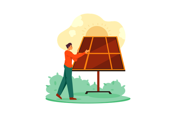 Man cleaning solar panel Illustration