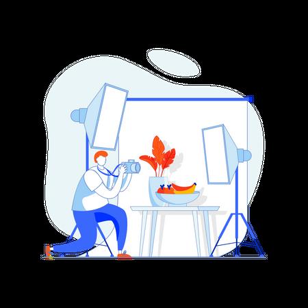 Man clicking food photographs Illustration