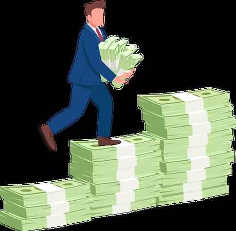 Man climbing money stairs Illustration