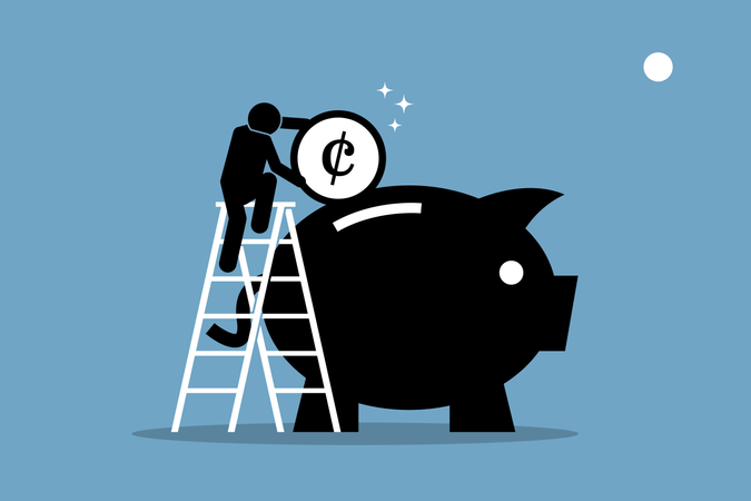 Man climbing up on a ladder and putting money into a big piggy bank Illustration