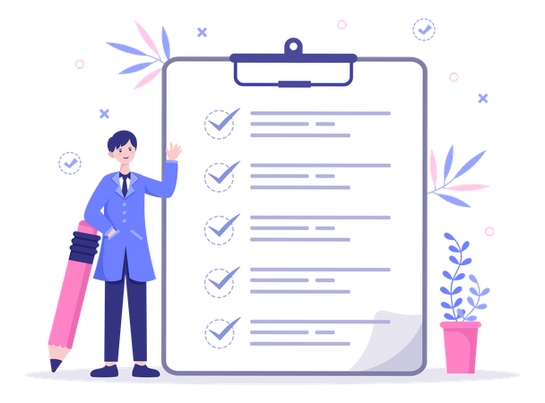 Man completed all tasks from list Illustration