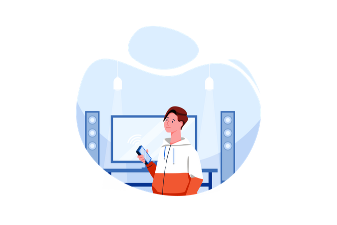 Man controlling music system in house Illustration