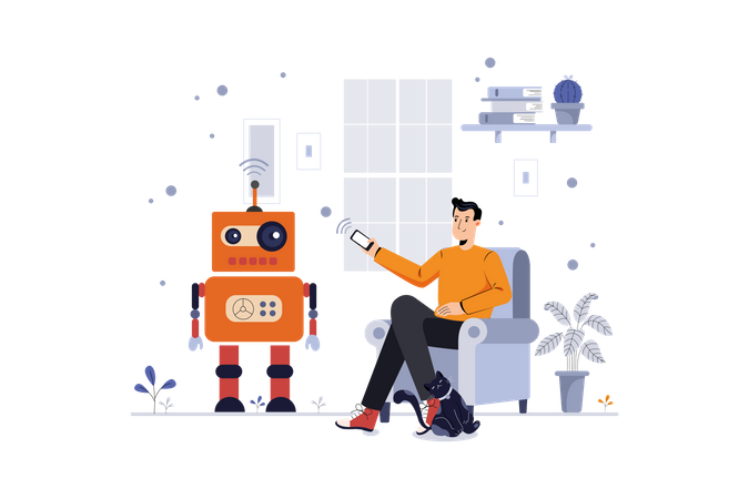 Man controlling robot Illustration