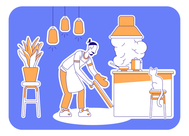 Man cook at home Illustration