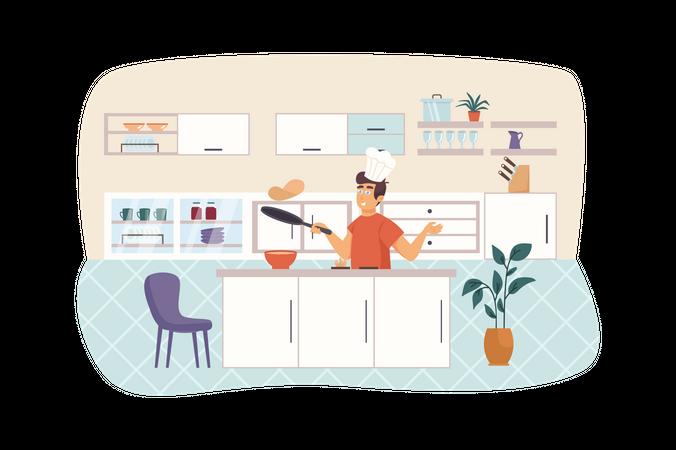 Man cooking pancakes in kitchen Illustration