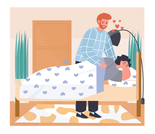 Man Covering up Woman With Blanket while sleeping Illustration