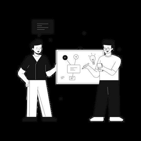 Man creating strategies Illustration