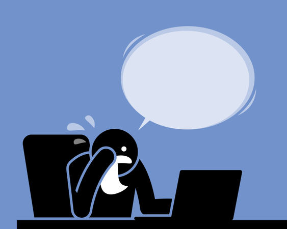 Man crying, weeping, and sobbing with a handkerchief while using the computer Illustration