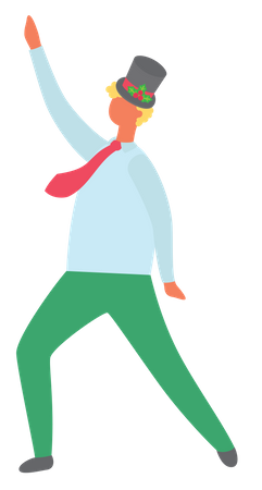 Man dancing in christmas party Illustration