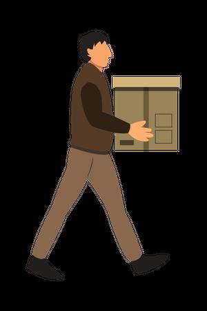 Man Delivering Box to Customer Illustration